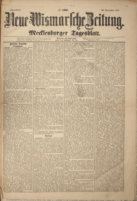 Wismar Zeitung: Neue Wismarsche Zeitung
